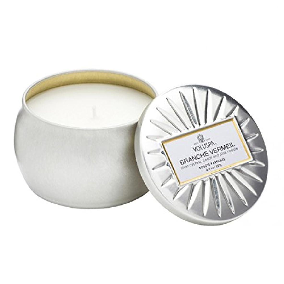 先駆者独裁縁Voluspa ボルスパ ヴァーメイル ティンキャンドル  S フ?ランチヴァーメイル BRANCHE VERMEIL VERMEIL PETITE Tin Glass Candle