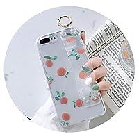 夏の小さな新鮮なオレンジfor アップルX携帯電話シェルリストバンドXSMAXブラケットXR用7plus透明for iphone 8,リストバンド透明オレンジ,for アップル6 / 6s