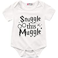 Charm Kingdom Baby Boys' Snuggle This Muggle Short Sleeve Bodysuit 100 (12-18M) White