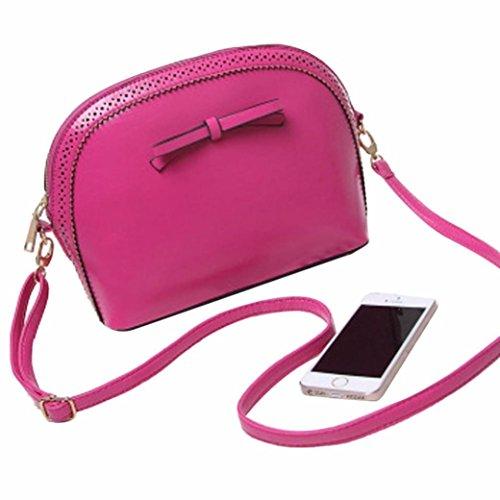 gbsell女性レディースガールズリボン付きミニハンドバッグショルダーバッグトートバッグホーボーサッチェルレディースメッセンジャーバッグ カラー: ピンク