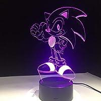 Dtcrzj Aiアニメソニックザヘッジホッグフィギュア3D LedテーブルランプFlh効果7カラフルなアクリル視覚錯覚Usb Ledライトキッズスリープランプ