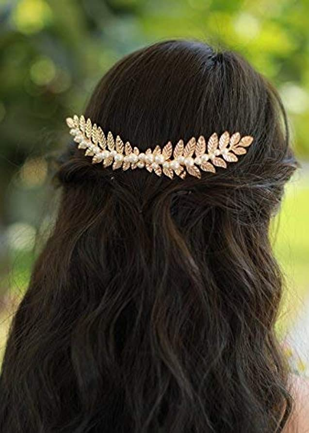 束ねる学んだ死Missgrace Gold Leaf Hair Comb Wedding Hair Accessories Bride Floral Hair Comb Head Pieces Hair Clips Pins Jewelry...
