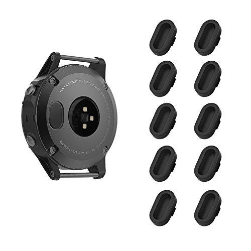 Garmin Fenix 5 防塵プラグ - ATiC Garmin Fenix 5/5S/5X/Forerunner 935/Vivoactive 3/Vivosport/D2 Charlie/Quatix 5用 充電器ポート用 シリコーン製 防塵プラグ 10個 BLACK