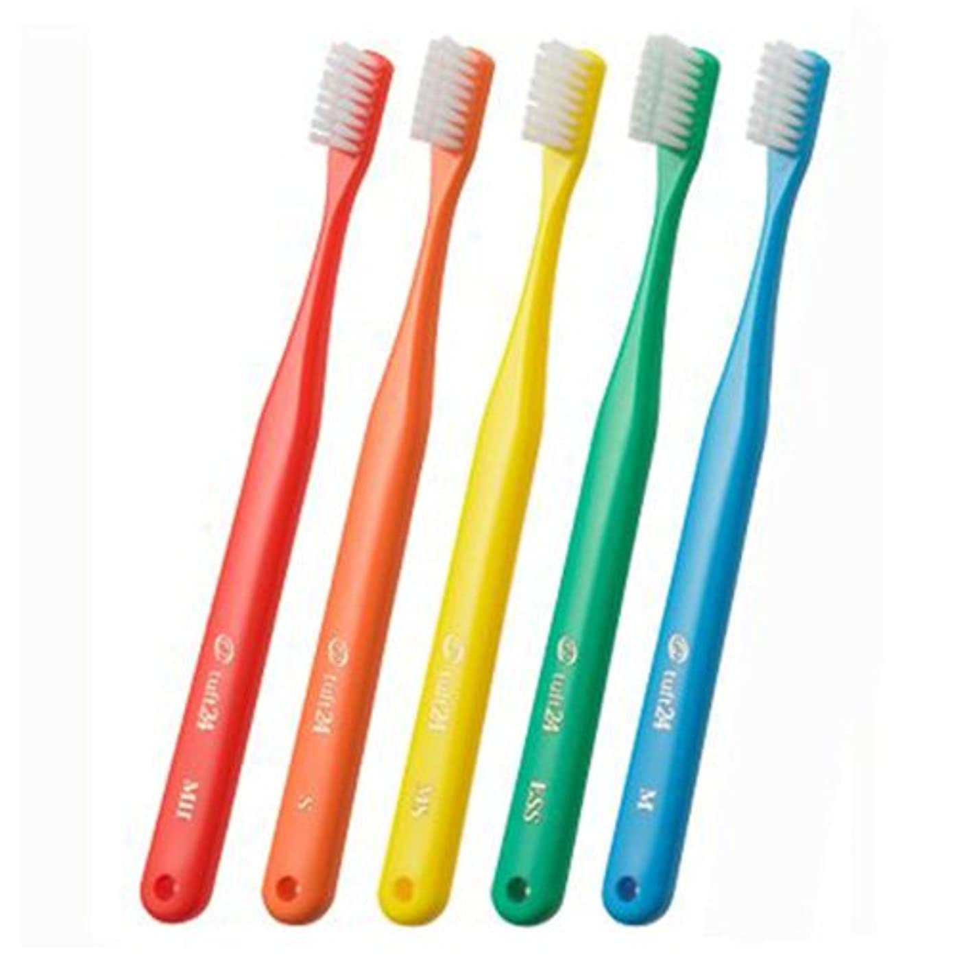 夜該当する同時オーラルケア タフト24 一般成人用 3列歯ブラシ 10本セット MH(ミディアムハード) ホワイト