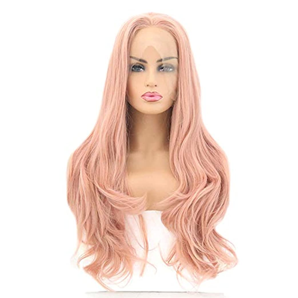 しわマイクロのファッション女性のかつら、自然なフロントレースオレンジ波状トウモロコシの長い髪のかつら、任意の頭の形のための調節可能なかつら16-26インチ