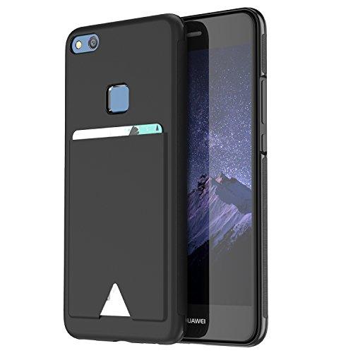 Huawei P10 lite ケース 薄型 ICカード収納 TPU+レザー 耐衝撃 滑り防止 指紋防止 スマホケース 携帯カバー (P10 lite, ブラック)