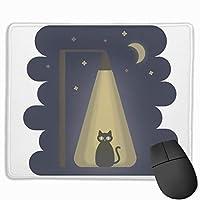 マウスパッド 夜 猫 光 月 グレー ゲーミング オフィス最適 おしゃれ 疲労低減 滑り止めゴム底 耐久性が良い 防水 かわいい PC MacBook Pro/DELL/HP/SAMSUNGなどに 光学式対応 高級感プレゼント YAMAYAGO