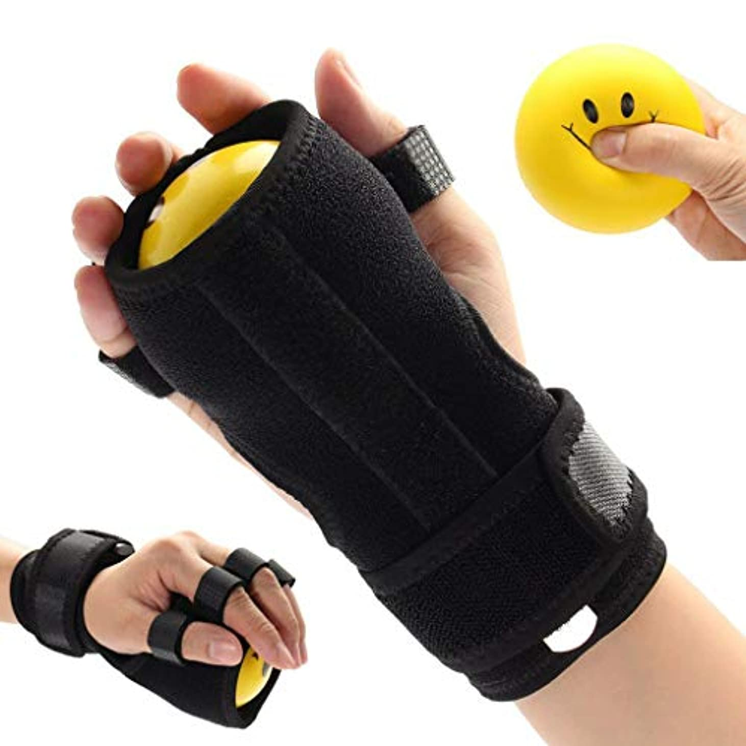 政令討論暴行抗痙攣性ボール - 指手首リハビリテーション練習用装具、機能的副子手、手の機能障害/片麻痺/脳卒中用