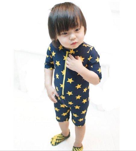 超可愛い子供服水着帽子付き2点セット子供男児水着ラッシュガード男の子キッズ水着星柄キッズmall-online(90-100cm)
