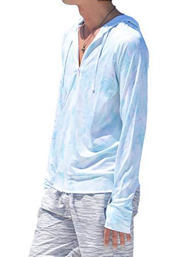 8227 着る日焼け止め 夏 ジャケ トレーナー パーカー ジャケット メンズ ラッシュガード UVカット 長袖 UPF50+ マリン スポーツ ウェア (R-タイダイリーフ LL)