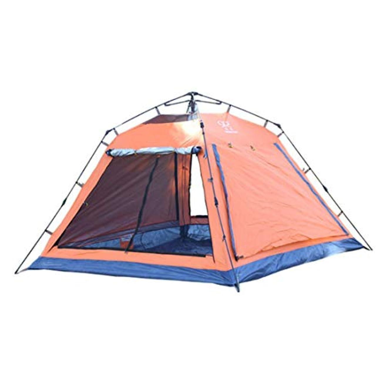 ドラフトロケーション素敵なKingsleyW 3-4人丈夫なキャンプテント四隅スクエアトップ自動インスタントポップアップバックパッキングテント超軽量防水ハイキングキャンプ旅行、サンシェード、蚊 (色 : オレンジ)