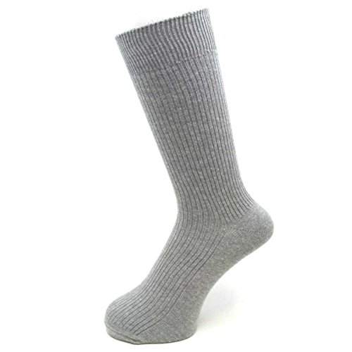 23~25cm Sサイズ 東洋紡 銀世界使用 日本製 銀イオンで除菌の靴下 リブ柄 グレー 5足セット