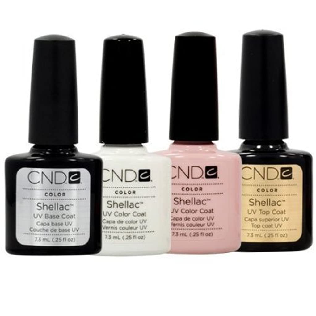 過言友情居住者CND Shellac French Manicure Kit Base Top Coat Color White Pink Nail Polish Gel by CND - Creative Nail Design [並行輸入品]