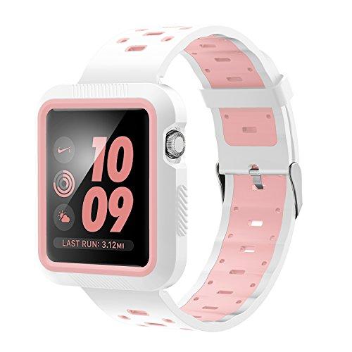 Kartice for Apple Watch アクセサリーバンド Apple Watch Series 3 ベルト+フレーム 柔らかくスポーツシリコンバンド+プラスチックフレーム Apple Watch交換専用(42mm, ホワイト+ピンク)