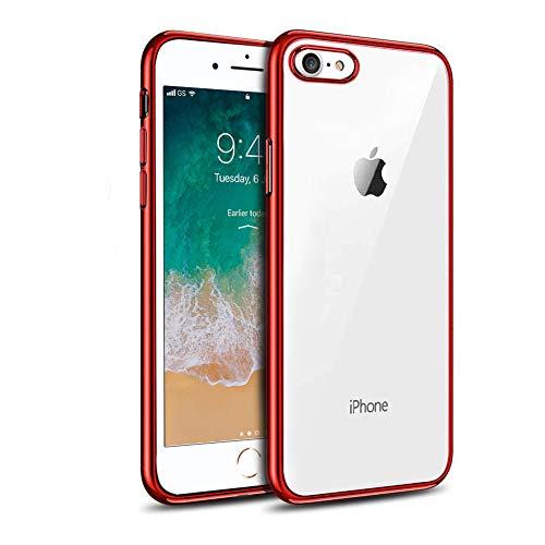 iphone7/iphone8 ケース 透明 ソフト TPU 耐衝撃 カメラ保護 背面クリア+メッキ加工 指紋防止 防塵 超薄型 ワイヤレス充電対応 レッド