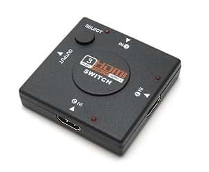 3ポート HDMI ケーブル セレクター 切替器 PC PS3 テレビ ワンタッチ 切り替え