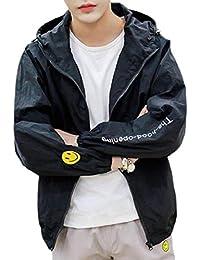 gawaga メンズライトプラスサイズ花プリントカジュアルジッパーフロントフードアウトウェア