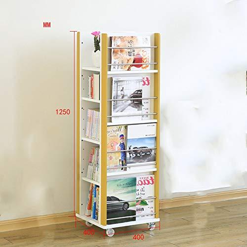 HUO,本棚 ソリッドウッドの本棚車輪付き可動式回転マガジンラックフロアラックマガジン新聞ラック-125 * 40 * 40cm (色 : Yellow+white)