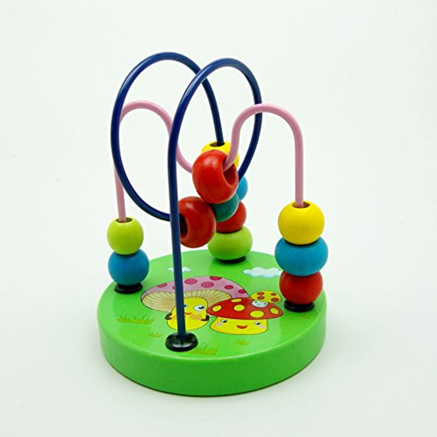 Colourful Baby Kids Children Wooden Toy Mini Around Beads Wire Maze Roller Coaster Educational Game, Mushroom pattern