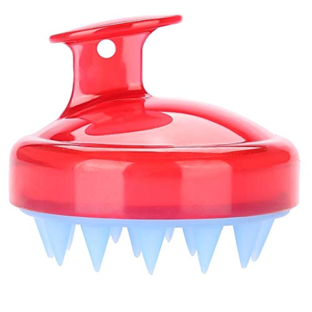 不均一木材器用5色マッサージャーヘッド - スカルプマッサージャー、マッサージャーブラシヘッドシャンプー - ボディ洗浄マッサージャーのためのシャワーブラシ(赤)