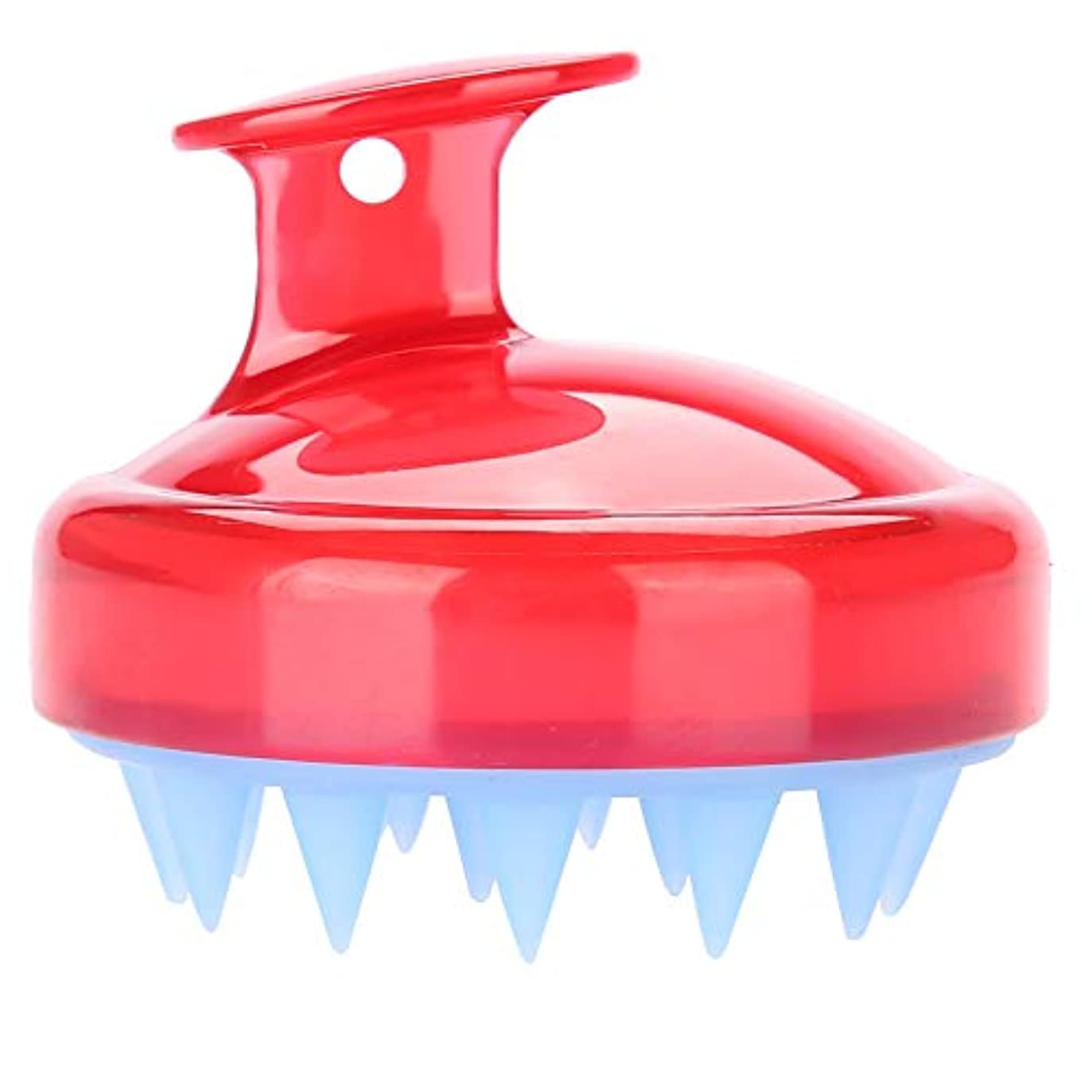 教養がある熟達した剛性5色マッサージャーヘッド - スカルプマッサージャー、マッサージャーブラシヘッドシャンプー - ボディ洗浄マッサージャーのためのシャワーブラシ(赤)
