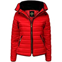 Janisramone Womens Ladies New Quilted Puffer Bubble Padded Jacket Collar Gold Zip Up Thick Warm Coat