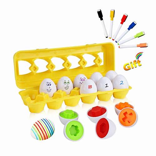 モンテッソーリ 知育玩具 12 卵 パズル + 6 色 ペン - Sendida 学習おもちゃ ブロックおもちゃ 12カラーシェイプ マッチングエッグセット はめこみ 形合わせ 学習玩具 (卵12個+6ペン)
