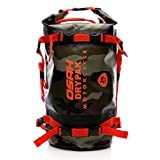 多機能キャリアバッグ反射テープ付き ワンタッチ装着 防水 軽量 丈夫 完全防水 ドラムバッグ ツーリングシートバッグ オートバイ アウトドア (25L 迷彩赤)