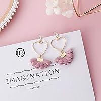 Row&ling2019 ファッション韓国甘いピンクの生地の花ブラブラ真珠女性幾何ジュエリーアクセサリー花嫁のギフト イヤリング レディース