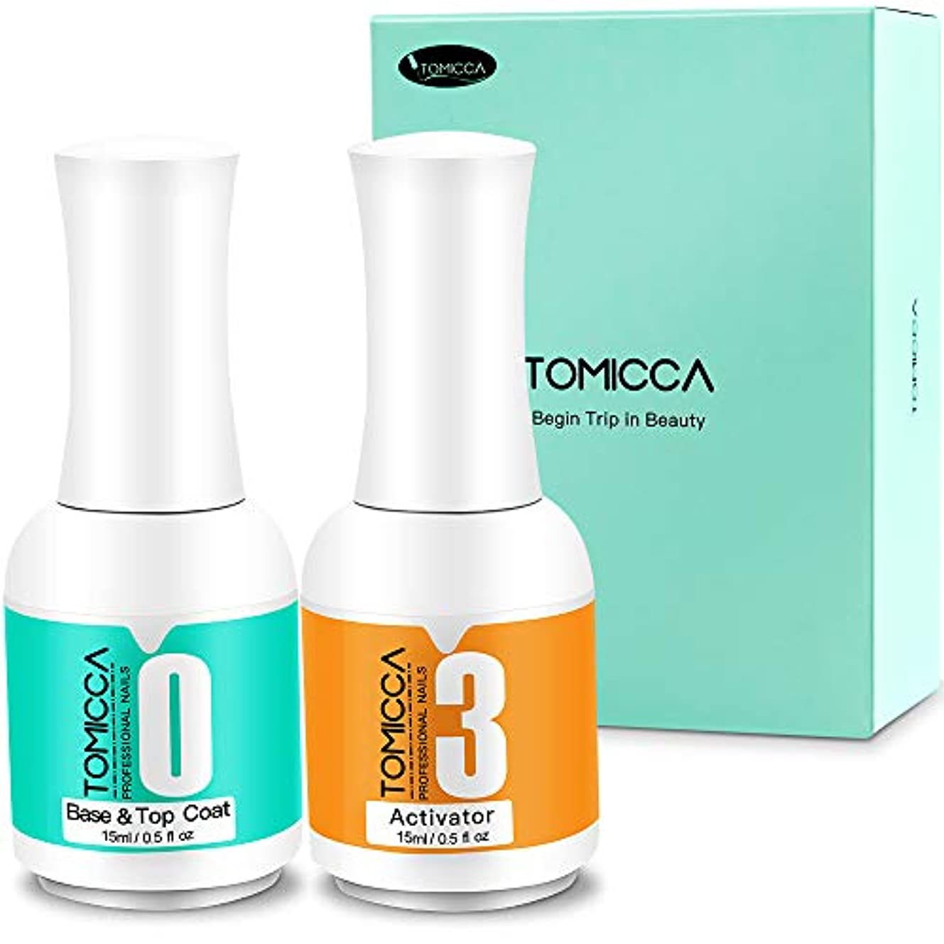 円形の狂乱化学薬品TOMICCA ベース&トップコート アクティベーター ネイルパウダー用 15ml大容量 2本セット UV/LED不要(パウダー用ベース&トップコート)