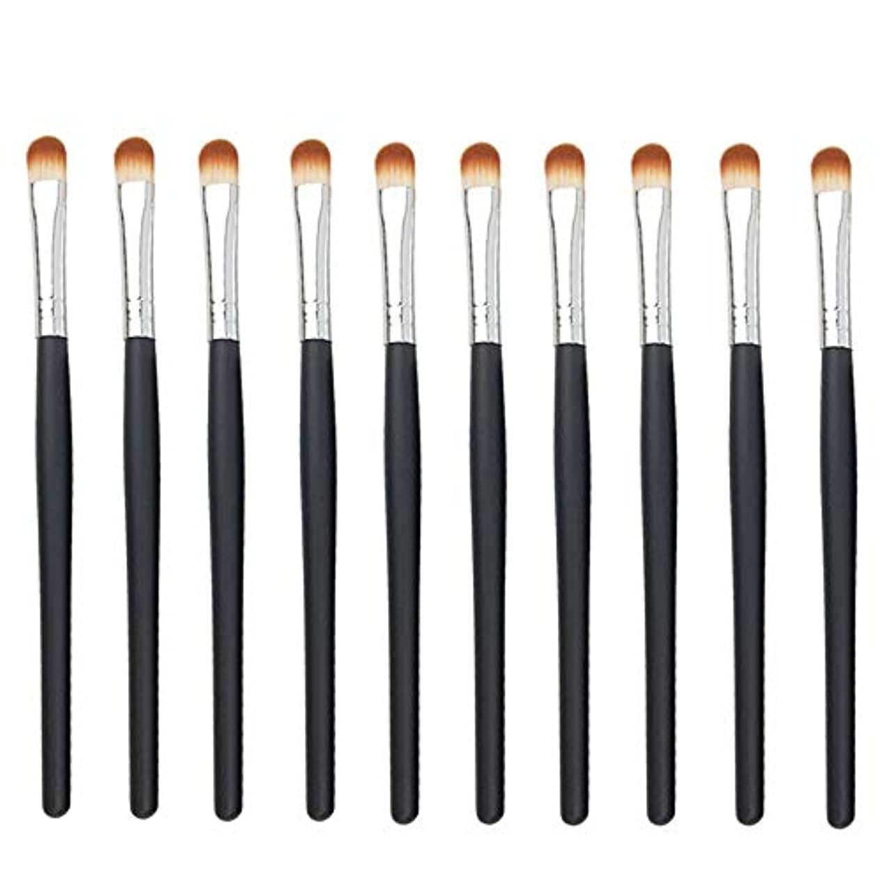 合併症ソケット現実的Makeup brushes 黒いハンドル、初心者および専門家に望ましいアイシャドウブラシアイメイクブラシ10スティックアイメイクブラシ suits (Color : Black Silver)