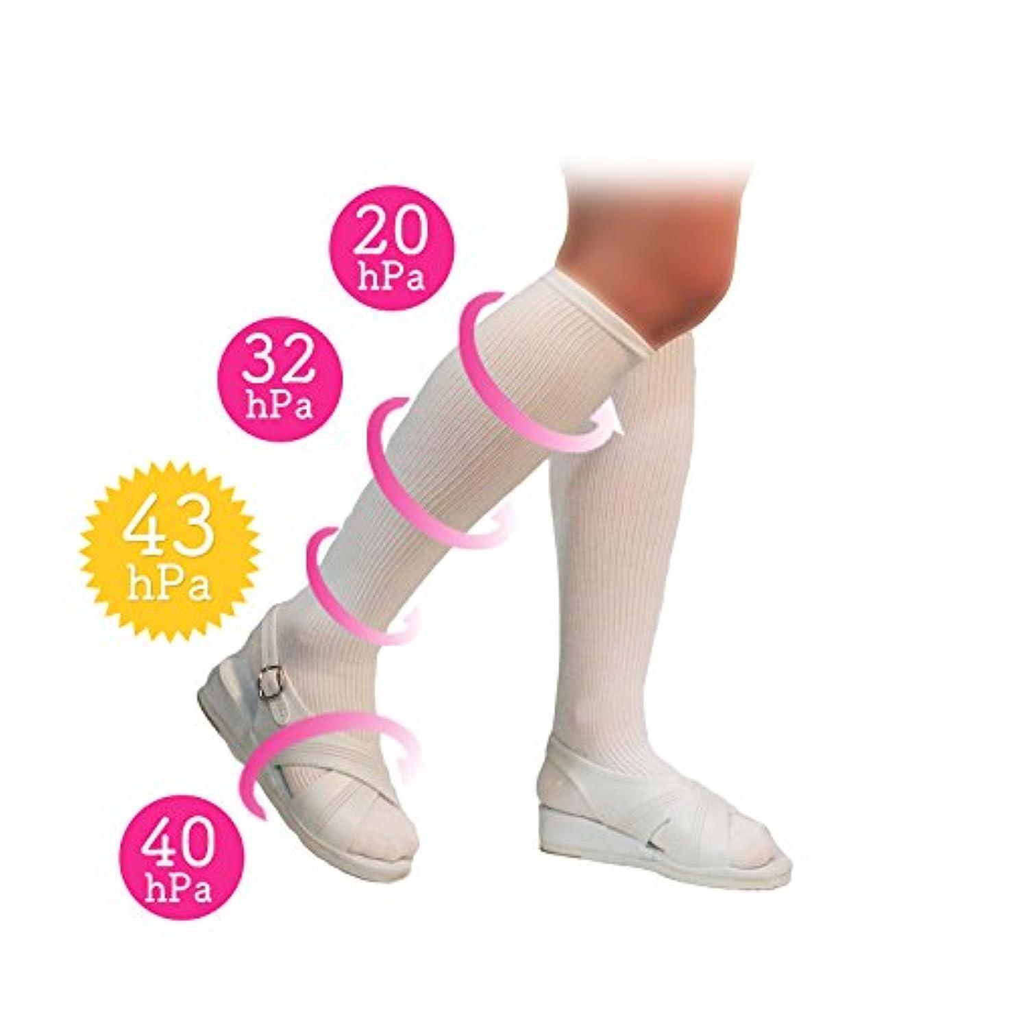 【看護師さんに大人気】長間疲れづらい 美脚 着圧 ソックス ホワイト 23-25cm 太陽ニット 78 むくみ解消にぴったり