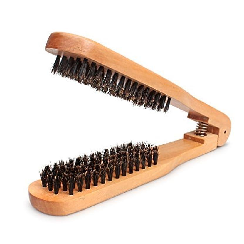天文学芝生配管Amariver DIY Salon Hairdressing Hair Straightener Wooden Anti-static Dual-Brush Comb [並行輸入品]