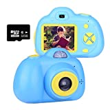 YXIN 2.0 inch Kids Digtal Camera,Mini 1080P HD Video Cartoon Toy Camera with 32GB Memory Card Birthday Toy Gifts for 3-10 Years Old Girls and Boys (Blue)