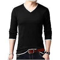 [アンリ] Vネック 長袖 Tシャツ ふちライン デザイン インナー ソフトフィット 軽量 オシャレ 春服 メンズ