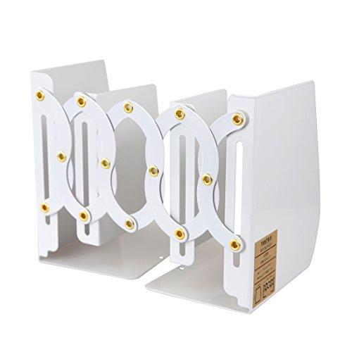 ヨンツリー Yontreeブックエンド 本立て ブックスタンド 伸縮可能45cmまで 仕切り 卓上収納ラック ファイル 雑誌 新聞 書類入れ 金属製 ホワイト