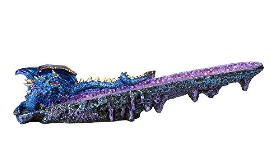 コークスリズムインシュレータブルードラゴンonアメジスト原石クォーツStick Incense Burner中世ファンタジー10.75インチL