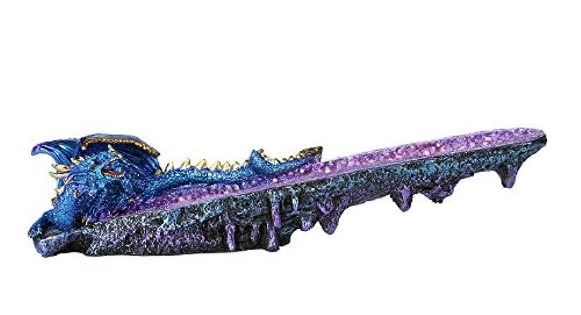 バング毒液緊張するブルードラゴンonアメジスト原石クォーツStick Incense Burner中世ファンタジー10.75インチL