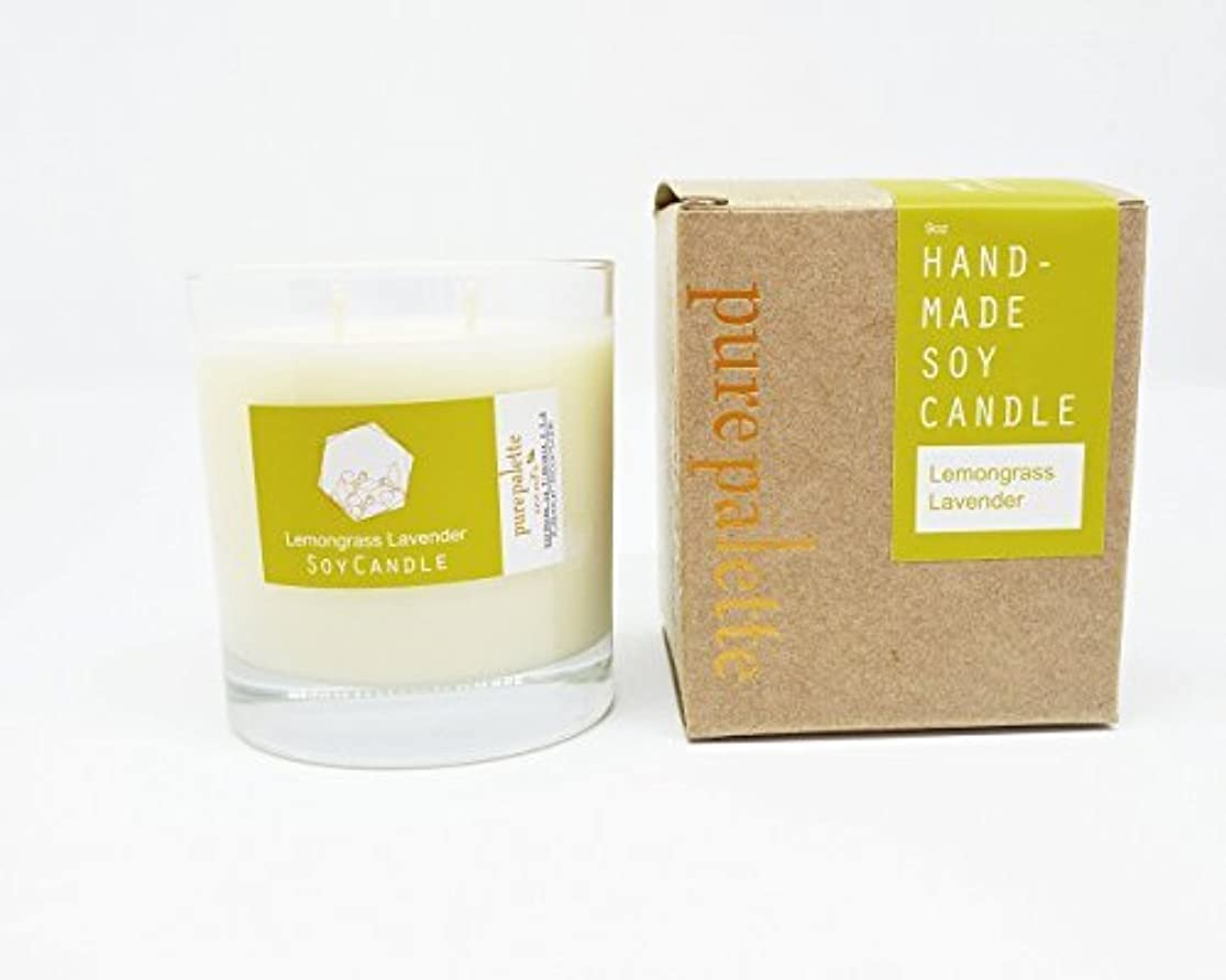 眉をひそめるぼんやりした私たちのものPure Palette Scents - Lemongrass Lavender Scented Soy Candle 50 Hours Burn Time in Glass Jar Aromatherapy Stress...