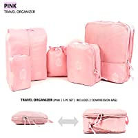 Luggage | Travel | Packing Organizer, Compression Cubes | 5 PC Set with Double Zipper Design for Wrinkle Free Packing | Color - Navy Blue, Pink | Ambient Singapore