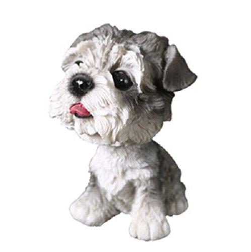 【Woliwowa】 オブジェ 首振り ワンちゃん 小さな 犬の 置物 (シュナウザー) [並行輸入品]