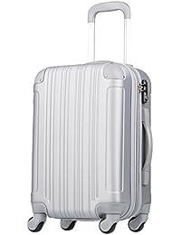 (レジェンドウォーカー) LEGEND WALKER 超軽量 Wファスナー容量アップ拡張機能付 【一年修理保証】 TSAロック搭載 スーツケース (17色機内持込から4サイズ) おしゃれでかわいい キャリーケース スムーズな移動が可能な静音4輪タイプ (Lサイズ(7泊以上/88(拡張時102)L), シルバー)