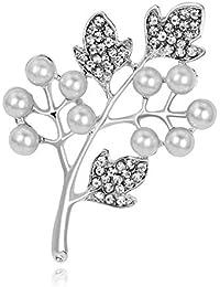 DDLKK スノーフレークリーフ ブートニエール クリスタルホワイトパールブローチ 合金メッキ ダイヤモンドパール クラフトアクセサリー 女性用 スタイリッシュなネックレスピン クリスマスブローチ 女性用