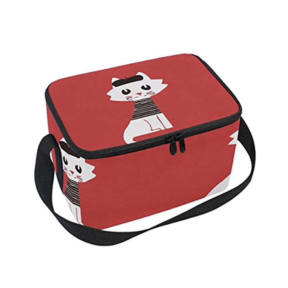 公積極的に現実クーラーバッグ クーラーボックス ソフトクーラ 冷蔵ボックス キャンプ用品  猫柄 赤 保冷保温 大容量 肩掛け お花見 アウトドア