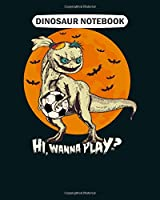 Dinosaur Notebook: halloween dinosaur with an evil doll face  College Ruled - 50 sheets, 100 pages - 8 x 10 inches