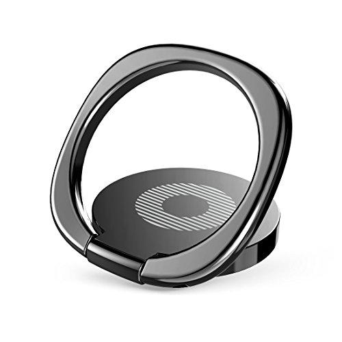 Baseus スマホ ホールドリング 360度回転 指1本で保持・落下防止 3mm極薄 携帯リング スタンド マグネット車載ホルダー対応(ブラック)