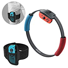 Adjustable Elastic Leg Fixing Strap and Ring-Con Steering Wheel Non-Slip Grips Accessories Kits for Nintendo Switch Ring Fit Adventure Game