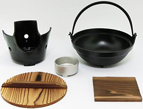 【 国産 】 ご家庭でも楽しめる プロ仕様 懐石 匠の技 いろり 鍋 18cm コンロ 火皿 付 セット ( 固形燃料 使用 タイプ)
