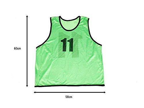 【MAYKA】色落しにくいビブスグリーン11~15番5枚セット前後番号袋付 MBW205 …