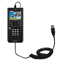 コイル状電源ホット同期USBケーブルSuitable for the Texas Instrument ti-nspire CX / CX CAS with両方データと充電機能–Uses Gomadicテクノロジー